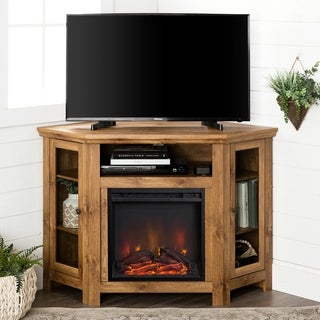 "Transitional Barnwood Corner Fireplace TV Stand - 32""t x 48""w x 20""d"