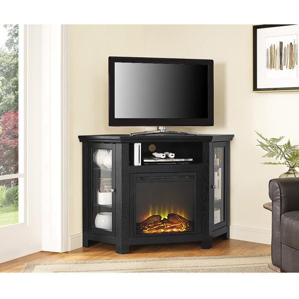 48 inch Black Corner Fireplace TV Stand