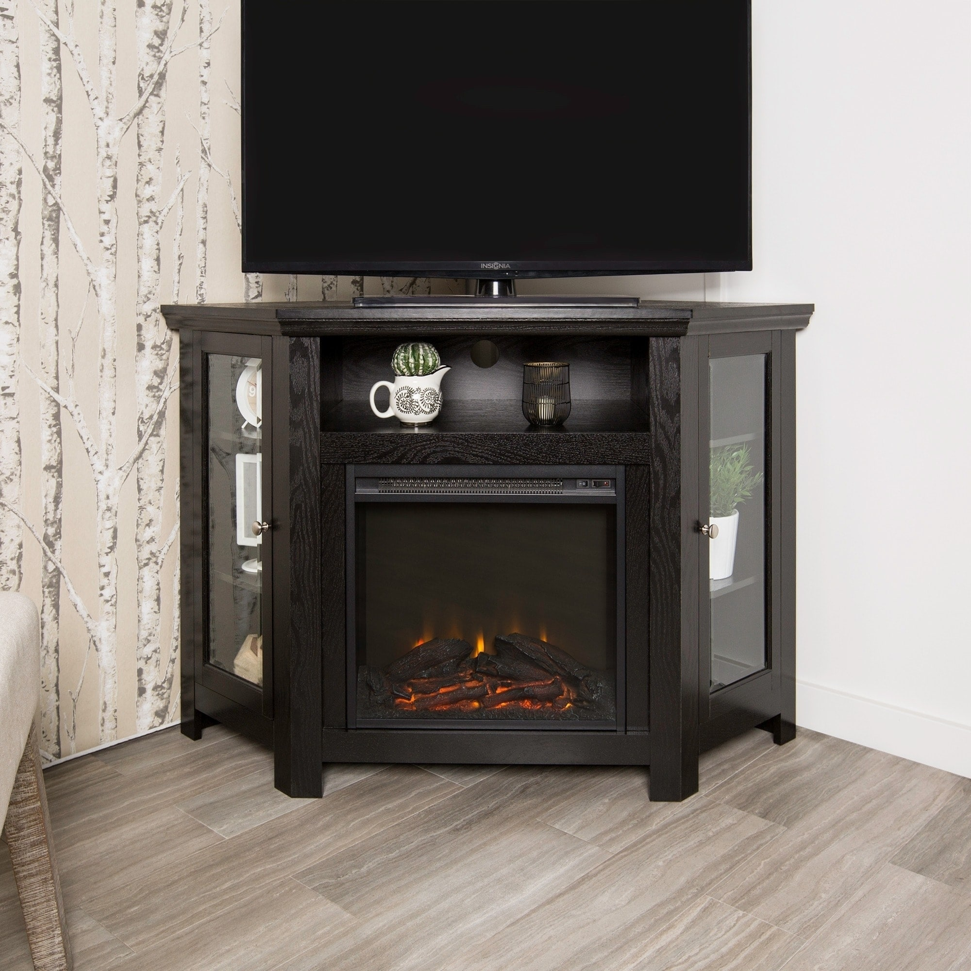 48 Inch Black Corner Fireplace Tv Stand Console Black 48 X 20 X