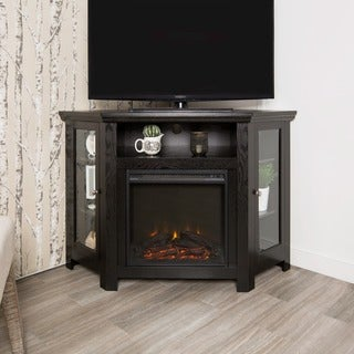 48-inch Black Corner Fireplace TV Stand