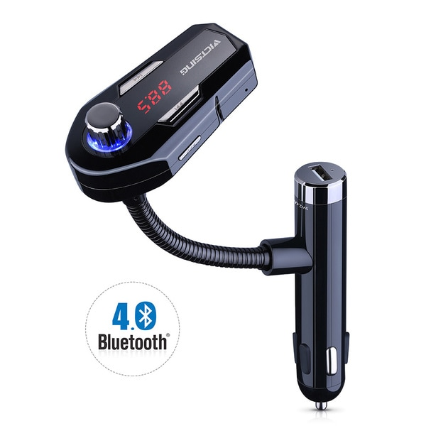 Wireless In-Car Bluetooth FM Transmitter Radio Adapter Car Kit With 2 USB Car Chargers for iPhone, Android - Black