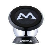 Mpow Black Aluminum 360-degree Rotatable Sticky Magnetic Mini Mount Holder for iPhone 6s, Samsung, and Other Smartphones