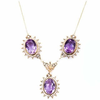 14k Yellow Gold Antique 3-stone Amethyst Necklace