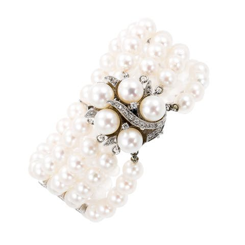 14k White Gold 1/2ct TDW Four-strand Pearl Estate Bracelet and Clasp (H-I, SI1-SI2)