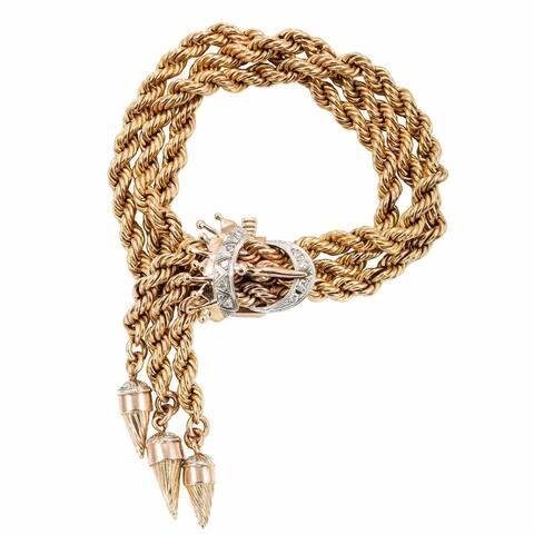 18k Yellow Gold 1/2ct TDW Three Twisted Rope Chain Tassle Estate Bracelet (I-J, SI1-SI2)