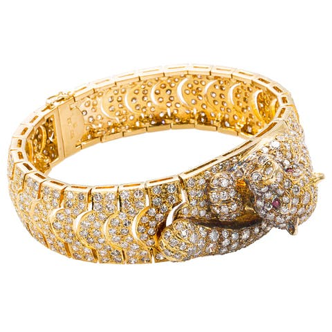 18k Yellow Gold 14ct TDW Pave Diamond Panther Estate Bracelet (H-I, SI1-SI2)
