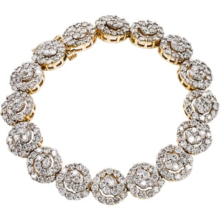 14k Yellow Gold 8 1/4ct TDW Swirl Clustered Diamond Estate Link Bracelet (J-K, I1-I2)