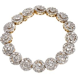 14k Yellow Gold 8 1/4ct TDW Swirl Clustered Diamond Estate Link Bracelet (J-K, I1-I2)