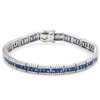 18k White Gold 2 1/2ct TDW Diamond and Sapphire Link Bracelet (G-H, SI1-SI2)