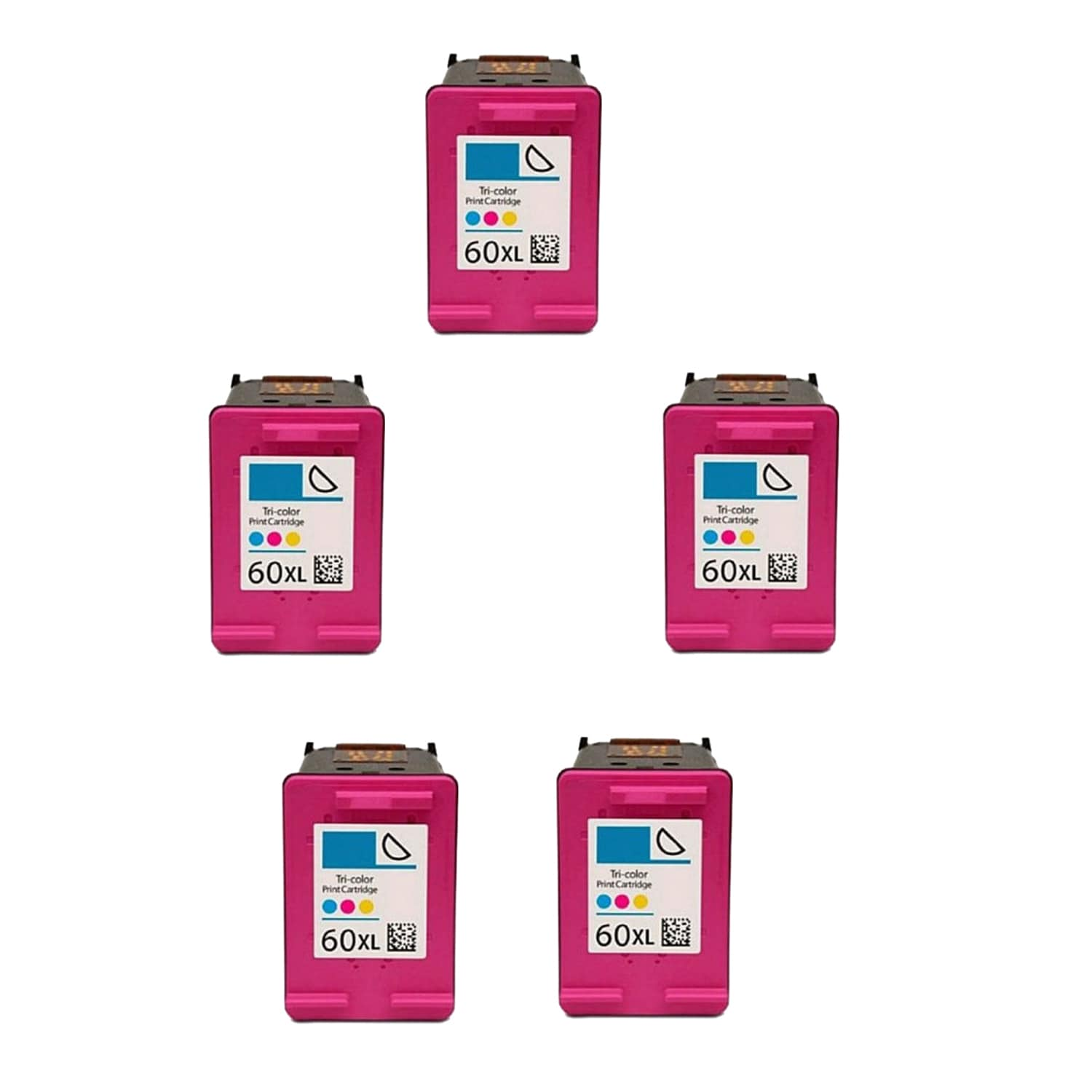 N 5PK Compatible CC644WN (HP 60XL) Ink Cartridge For HP D...
