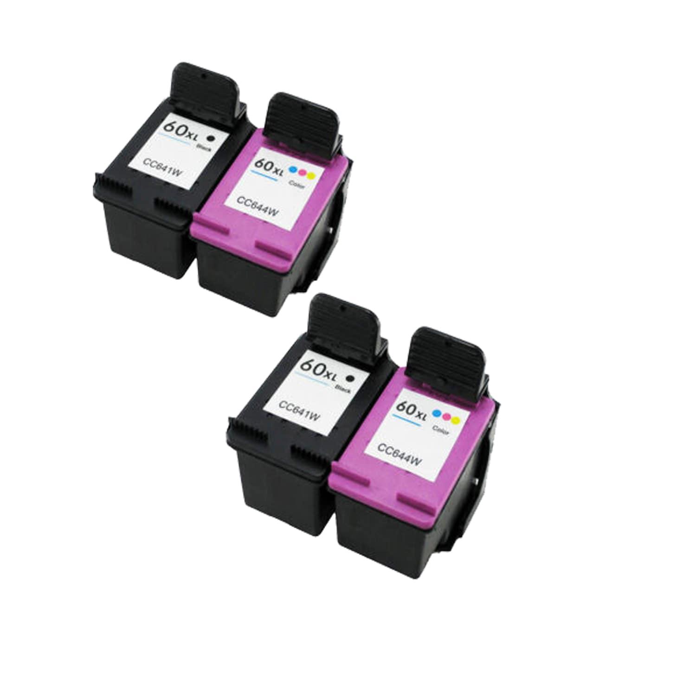 N 4PK Compatible CC641WN (HP 60XL) CC644WN (HP 60XL) Ink ...