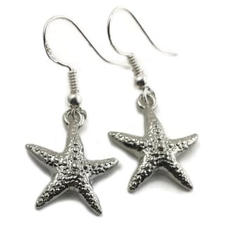 Mama Designs Sterling Silver Handmade Starfish Dangle Earrings