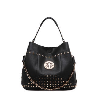 MKF Collection Obsedia Goldtone Studded Handbag with Removable Strap by Mia K. Farrow