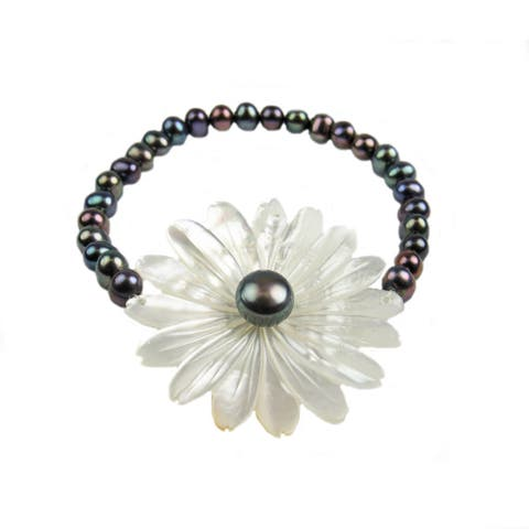 Pearl Lustre Freshwater Pearl With Carved Floral Mother-of-Pearl Stretch Bracelet