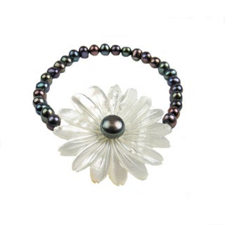 Pearl Lustre Freshwater Pearl With Carved Floral Mother-of-Pearl Stretch Bracelet (3 options available)