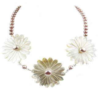 Pearl Lustre White Sterling Silver Freshwater and Mother of Pearl Necklace