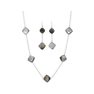 White Sterling Silver Mother of Pearl Necklace and Earrings