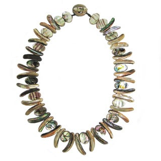 Pearl Lustre Black Woven Abalone Statement Necklace