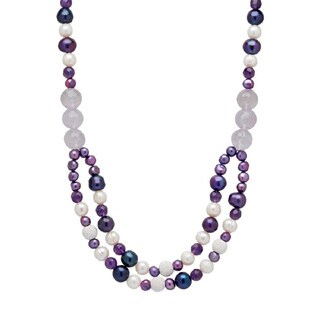 Pearl Lustre Genuine Cultured Pearls and Gemstone Necklace
