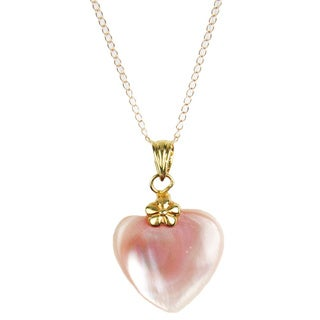 Pearl Lustre 14k Yellow Gold Necklace With Mother of Pearl Heart Pendant - White