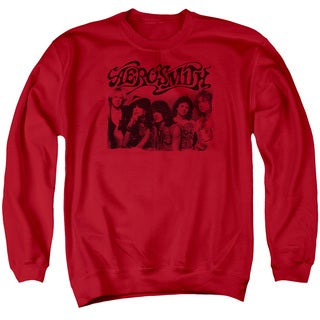 Aerosmith/Old Photo Adult Crew Sweat in Red
