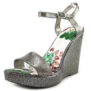 Qupid Women's Grand-01 Silver Patent Leather High Heel Wedge Sandals
