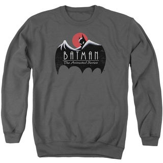 Batman The Animated Series/Distressed Logo Adult Crew Sweat in Charcoal
