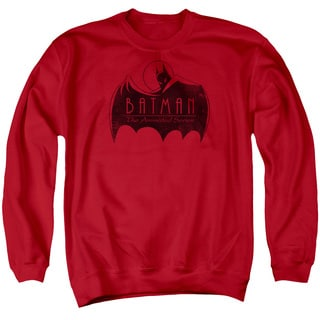 Batman The Animated Series/One Color Logo Adult Crew Sweat in Red