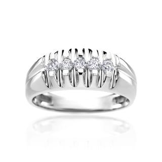SummerRose Men's 14k White Gold 3/8-carat TDW Diamond Ring
