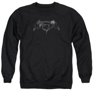 Batman V Superman/Cityscape Logo Adult Crew Sweat in Black