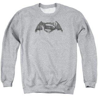 Batman V Superman/Cityscape Logo Adult Crew Sweat in Athletic Heather