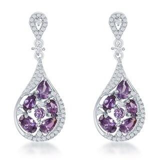 La Preciosa Sterling Silver Multicolor Cubic Zirconia Teardrop Twist Earrings