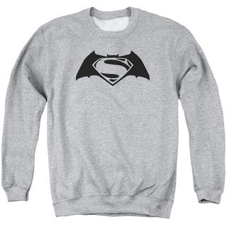 Batman V Superman/Simple Logo Adult Crew Sweat in Athletic Heather