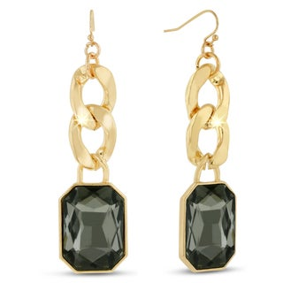 Gold Overlay Smoky Glass and Chain 2 1/2-inch Dangle Earrings