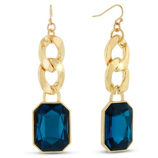 Gold Overlay Blue Sapphire Glass and Chain 2 1/2-inch Dangle Earrings