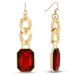 Gold Overlay Ruby Red Glass and Chain 2 1/2-inch Dangle Earrings