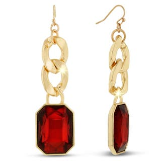 Gold Over Brass Red Glass and Chain 2 1/2-inch Dangle Earrings|https://ak1.ostkcdn.com/images/products/11990464/P18870670.jpg?impolicy=medium