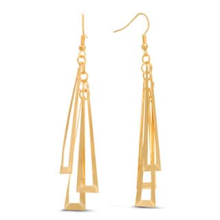 Geometric Gold Dangle 3-inch Earrings