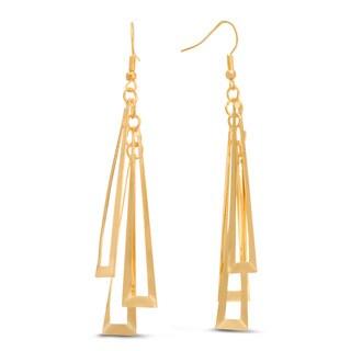 Geometric Gold Over Brass Dangle 3-inch Earrings