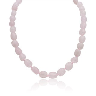 30ct Natural Rose Quartz Beaded 18-inch Necklace