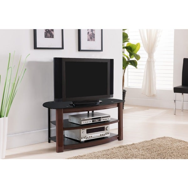 Shop K B E1042 Black Metal Glass And Wood Tv Stand On Sale