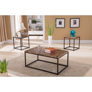 K and B Furniture Co T212 Marble 3-piece Coctail and End Table Set