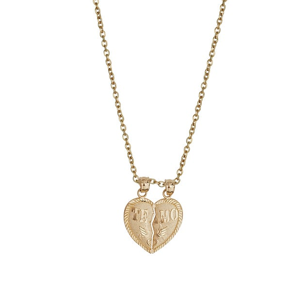14K Yellow Gold Broken Heart Charm Pendant For Necklace or Chain