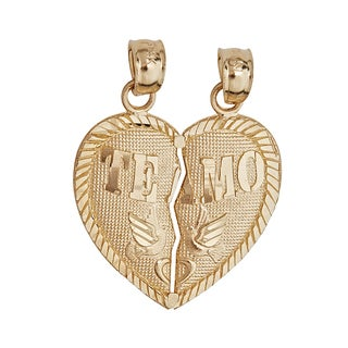 Te Amo 14k Yellow Gold Broken Heart Pendant