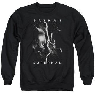 Batman V Superman/Face To Face Adult Crew Sweat in Black