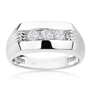 SummerRose Men's 14-carat White Gold with Diamonds Ring|https://ak1.ostkcdn.com/images/products/11990586/P18870576.jpg?impolicy=medium
