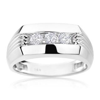 SummerRose Men's 14-carat White Gold with Diamonds Ring