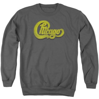 Chicago/Distressed Adult Crew Sweat in Charcoal
