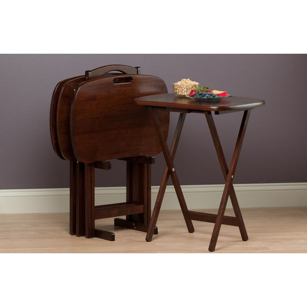 Winsome Lucca Walnut Finished Wood 5 Piece Home Snack Table Set   Free  Shipping Today   Overstock.com   18870722