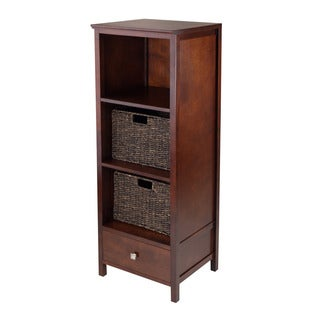 Winsome Brooke Jelly Walnut Wood Storage Cupboard With 2 Foldable Baskets and Drawer (Pack of 3)